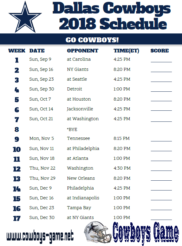 Cowboys Game schedule